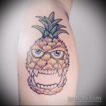 Оригинальный вариант выполненной наколки ананас – рисунок подойдет для тату ананас на шее