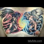 Классный пример существующей тату ангел и демон – рисунок подойдет для тату ангел и демон девушки