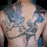 Оригинальный вариант готовой наколки ангел и демон – рисунок подойдет для крылья ангела и демона тату