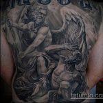 Крутой вариант существующей тату Архангел Михаил – рисунок подойдет для тату архангел михаил на лопатке