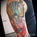 Оригинальный вариант готовой тату Архангел Михаил – рисунок подойдет для тату архангел михаил с щитом и копьём