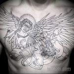 Классный пример выполненной наколки Архангел Михаил – рисунок подойдет для тату архангел михаил на руке эскизы