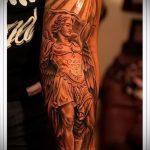 Интересный вариант готовой наколки Архангел Михаил – рисунок подойдет для тату архангел михаил на руке эскизы