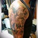 Уникальный пример выполненной татуировки Архангел Михаил – рисунок подойдет для тату архангела михаила с щитом