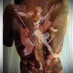 Интересный вариант готовой тату Архангел Михаил – рисунок подойдет для тату архангел михаил на зоне