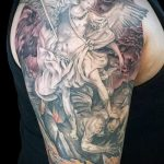 Уникальный пример готовой тату Архангел Михаил – рисунок подойдет для тату архангел михаил на боку