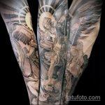 Классный вариант нанесенной тату Архангел Михаил – рисунок подойдет для тату архангел михаил на лопатке