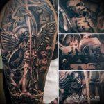 Интересный пример готовой татуировки Архангел Михаил – рисунок подойдет для тату архангел михаил на спине