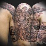Прикольный вариант существующей татуировки Архангел Михаил – рисунок подойдет для тату архангел михаил для девушки