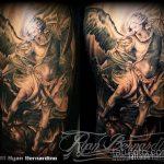 Зачетный пример готовой татуировки Архангел Михаил – рисунок подойдет для архангел михаил тату на руке
