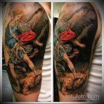 Прикольный вариант готовой татуировки Архангел Михаил – рисунок подойдет для тату архангел михаил на спине
