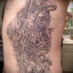 Прикольный вариант готовой наколки Архангел Михаил – рисунок подойдет для тату архангел михаил надпись