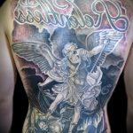 Прикольный пример существующей тату Архангел Михаил – рисунок подойдет для тату архангел михаил на зоне
