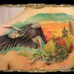 Уникальный пример готовой татуировки аист – рисунок подойдет для тату аист и цветы