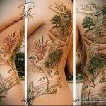 Классный пример выполненной наколки аист – рисунок подойдет для тату аист на руку