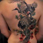Крутой вариант готовой тату аист – рисунок подойдет для тату аист или журавль