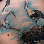 Интересный пример готовой наколки аист – рисунок подойдет для тату аист на руку