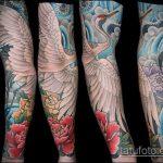 Прикольный пример готовой татуировки аист – рисунок подойдет для тату аист несет ребенка