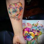 Оригинальный вариант выполненной татуировки анютины глазки – рисунок подойдет для татуировка цветок анютины глазки