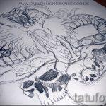 Прикольный вариант тату эскиз змеи – можно использовать для тату змей шее
