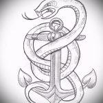 Прикольный вариант тату эскиз змеи – можно использовать для тату змея на лопатке