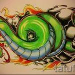Оригинальный вариант татуировки эскиз змеи – можно использовать для тату змея на пальце
