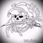 Стильный вариант тату эскиз змеи – можно использовать для голова змеи тату
