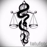 Прикольный вариант тату эскиз змеи – можно использовать для тату змея и роза