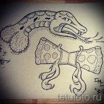 Прикольный вариант тату эскиз змеи – можно использовать для тату змея обвивает руку
