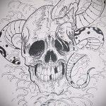 Стильный вариант татуировки эскиз змеи – можно использовать для тату змей спине