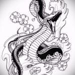 Интересный вариант тату эскиз змеи – можно использовать для женские тату змея
