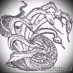 Классный вариант татуировки эскиз змеи – можно использовать для тату змея с цветами
