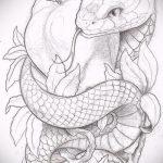 Уникальный вариант тату эскиз змеи – можно использовать для тату змея рукав