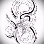 Оригинальный вариант татуировки эскиз змеи – можно использовать для голова змеи тату