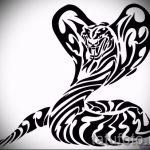 Оригинальный вариант тату эскиз змеи – можно использовать для тату змея и роза