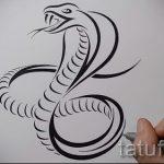 Интересный вариант татуировки эскиз змеи – можно использовать для тату змеи мужчин
