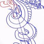 Уникальный вариант тату эскиз змеи – можно использовать для тату змея и роза