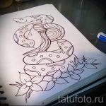 Достойный вариант тату эскиз змеи – можно использовать для тату змея олдскул