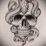 Стильный вариант тату эскиз змеи – можно использовать для тату змея на кисти