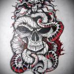 Классный вариант татуировки эскиз змеи – можно использовать для тату змея на бедре