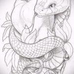 Достойный вариант тату эскиз змеи – можно использовать для змей картинка тату