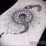 Классный вариант татуировки эскиз змеи – можно использовать для тату со змеем