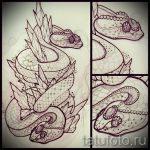 Интересный вариант тату эскиз змеи – можно использовать для тату меч и змея