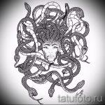 Прикольный вариант татуировки эскиз змеи – можно использовать для тату змея на руке