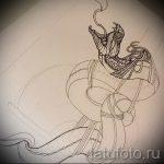 Классный вариант тату эскиз змеи – можно использовать для женские тату змея