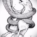 Оригинальный вариант тату эскиз змеи – можно использовать для тату змея с цветами