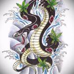 Прикольный вариант тату эскиз змеи – можно использовать для голова змеи тату