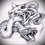 Уникальный вариант тату эскиз змеи – можно использовать для тату змей плече