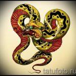Интересный вариант тату эскиз змеи – можно использовать для тату змея олдскул