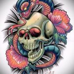 Классный вариант тату эскиз змеи – можно использовать для тату со змеем